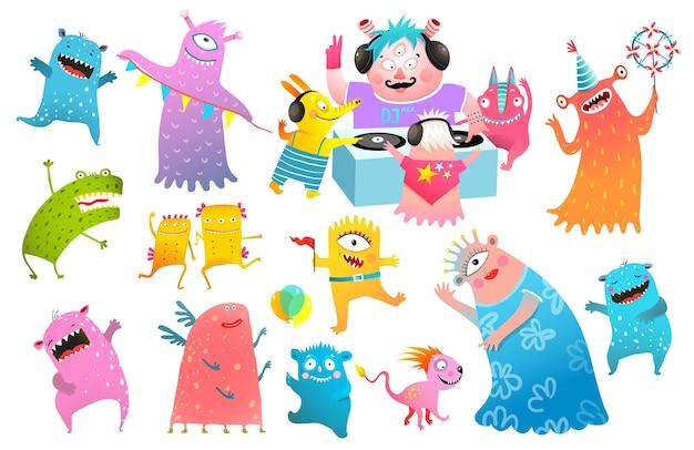 Kids monsters dj party festival, gra na winylu, tańczące stworzenia kolekcja clipartów dla dzieci. zabawne postacie potworów na dyskotece.