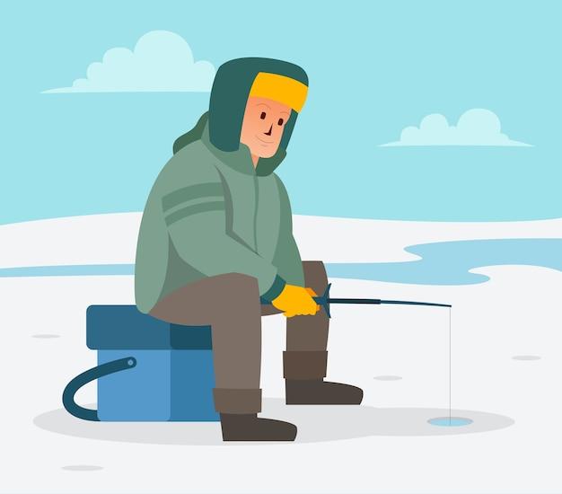 Kiedy nadchodzi zima, wędkarz szuka ryb w zamarzniętym jeziorze