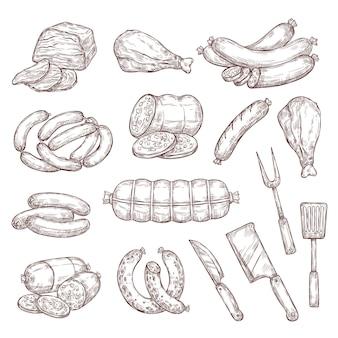 Kiełbasy mięsne, szynka, salami i nóż rzeźniczy