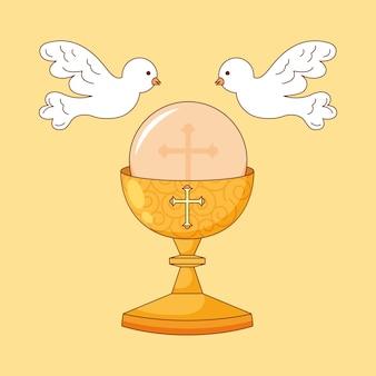 Kielich kreskówka z gołębiami. ilustracja kreskówka corpus christi