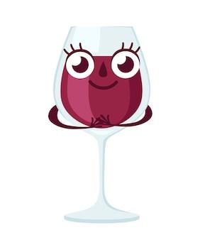 Kieliszek czerwonego wina, charakter. maskotka alkoholu. przezroczyste szkło. ilustracja na białym tle.