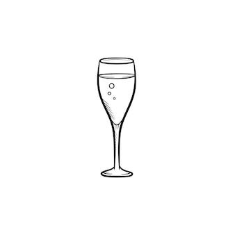 Kieliszek do szampana ręcznie rysowane konspektu doodle ikona. szkic ilustracji wektorowych szampana z bąbelkami do druku, sieci web, mobile i infografiki na białym tle.
