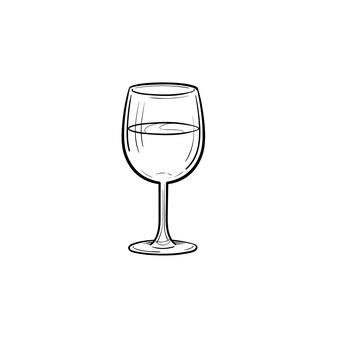 Kieliszek do wina ręcznie rysowane konspektu doodle ikona. szkic ilustracji wektorowych kieliszek do wina do druku, sieci web, mobile i infografiki na białym tle.