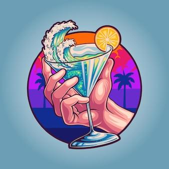 Kieliszek tropikalnego koktajlu bezalkoholowego w lecie