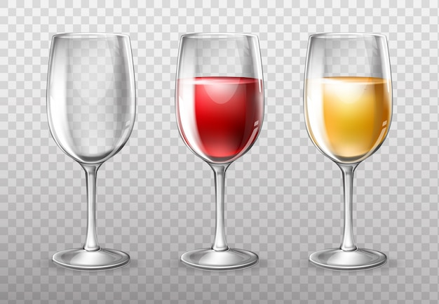 Kieliszki do wina, puste i pełne czerwonego wina