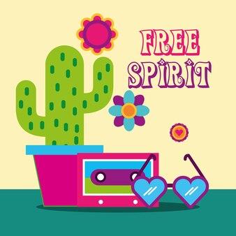 Kieliszki w kształcie serca kwiaty kaktus kaseta wolny duch