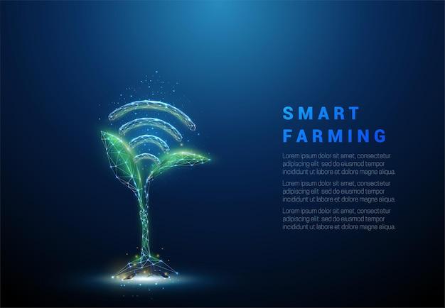 Kiełki zielonej rośliny z niebieskim symbolem wi-fi. koncepcja czujnika rolnictwa. konstrukcja w stylu low poly. streszczenie tło geometryczne.
