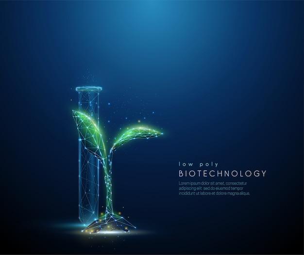 Kiełkować zieloną roślinę i rurkę. koncepcja biotechnologii