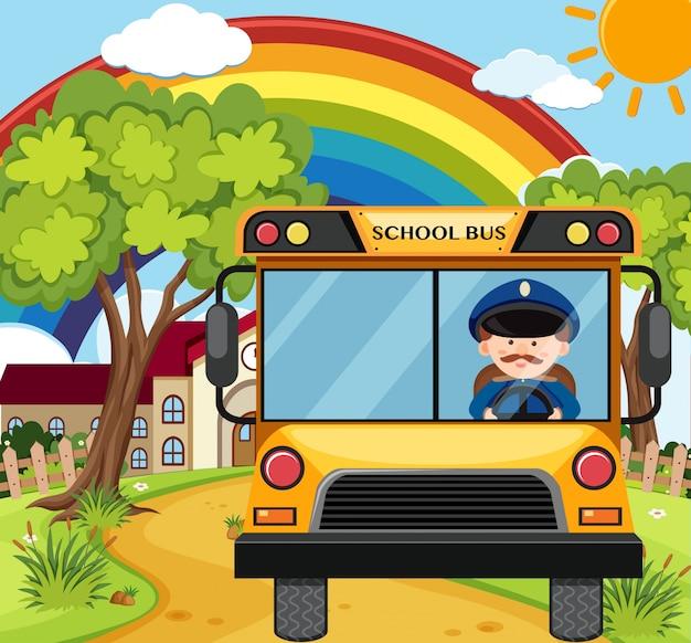 Kierowca autobusu jedzie schoolbus na drodze