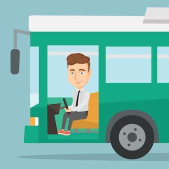 Kierowca autobusu kaukaski siedzi przy kierownicy.