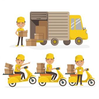 Kierowca ciężarówki dostawczej i motocykl dostawczy. dostawy człowiek jednolite gospodarstwa pola. zestaw usług dostawy. wektor na białym tle.