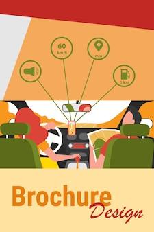 Kierowca i pasażer poruszający się po drogach w ramach mapy i aplikacji mobilnej. widok ludzi wewnątrz samochodu z tyłu. ilustracja wektorowa do nawigacji, jazdy, podróży, koncepcji transportu