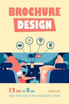 Kierowca i pasażer poruszający się po drogach w ramach mapy i szablonu ulotki aplikacji mobilnej