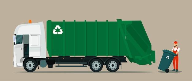 Kierowca ładuje kontener na śmieci do śmieciarki. ilustracja płaski.