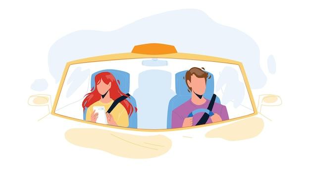 Kierowca mężczyzna jazdy samochodem i przewożenie dziewczyna wektor. kierowca transportu jazdy z pasażerem młoda kobieta. postacie facet i pani w transporcie, taxi carry klienta płaskie ilustracja kreskówka