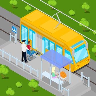 Kierowca tramwaju pomaga niepełnosprawnemu wózkowi inwalidzkiemu wejść do wagonu. izometryczni ludzie niepełnosprawni. ilustracji wektorowych