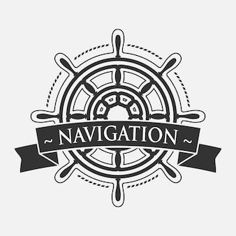 Kierownica statku z banerem