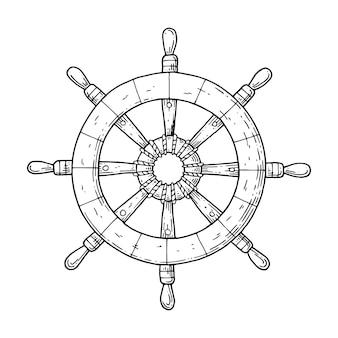 Kierownica ze statku na białym tle