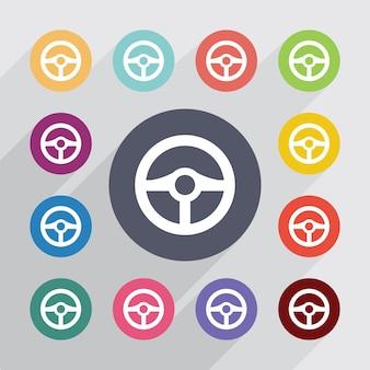 Kierownica, zestaw ikon płaski. okrągłe kolorowe guziki. wektor