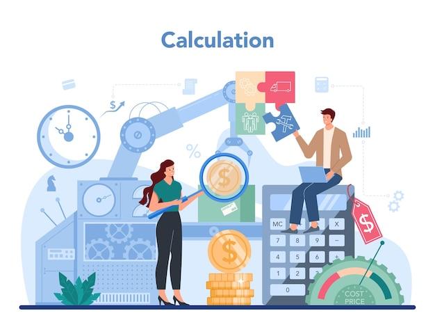Kierownik biura księgowego. profesjonalny księgowy. pojęcie kalkulacji i rachunkowości podatkowej. charakter biznesowy dokonujący operacji finansowych. ilustracji wektorowych