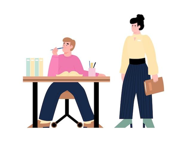 Kierownik biura niezadowolony z ilustracji wektorowych kreskówek podwładnych