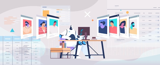 Kierownik ds. pracy robota wybierający cv życiorys ze zdjęciem i danymi osobowymi