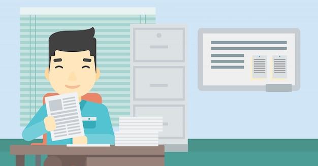 Kierownik hr sprawdza pliki wektorowych ilustracji.