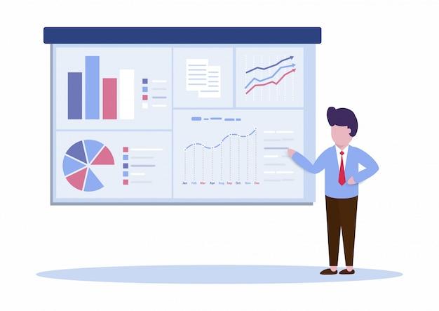 Kierownik lub biznesmen przedstawia dane marketingowe