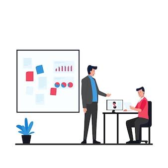Kierownik omawia z pracownikiem na krześle zobacz metaforę monitora na temat czynności biurowych.