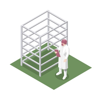 Kierownik produkcji ze stalowym stojakiem