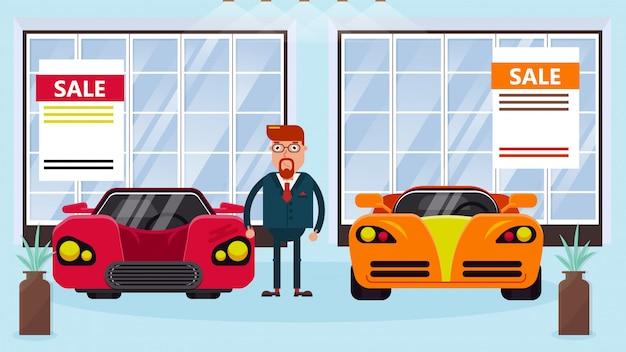 Kierownik sprzedawcy samochodów stoi między samochodami na sprzedaż