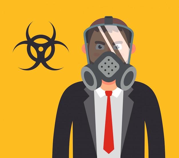 Kierownik w masce gazowej. chroniąc twoje zdrowie przed bronią biologiczną. ilustracja płaski charakter.