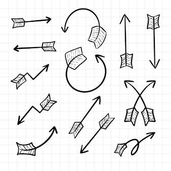 Kierunek strzałki rysunek ręka doodle stylu cartoon grafik