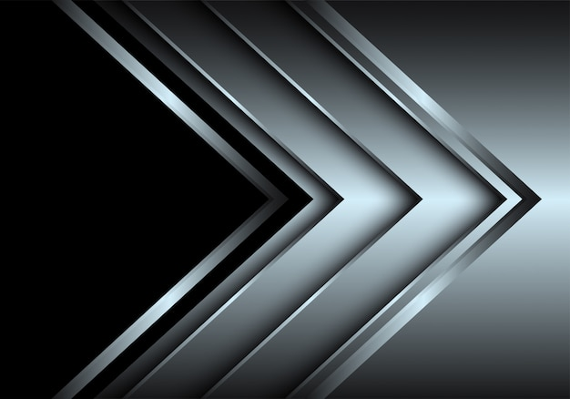 Kierunek warstwy srebrnej strzałki z czarnym tłem pustej przestrzeni.