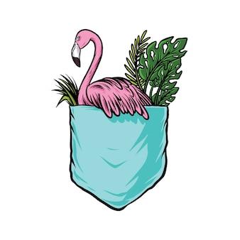 Kieszeń flamingo zabawna