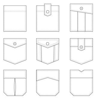 Kieszeń naszywka zestaw jednolitych naszywanych kieszeni kształtów na ubrania w stylu casual denim pojedyncze ikony