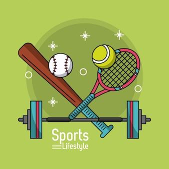 Kij baseballowy i rakieta tenisowa i hantle