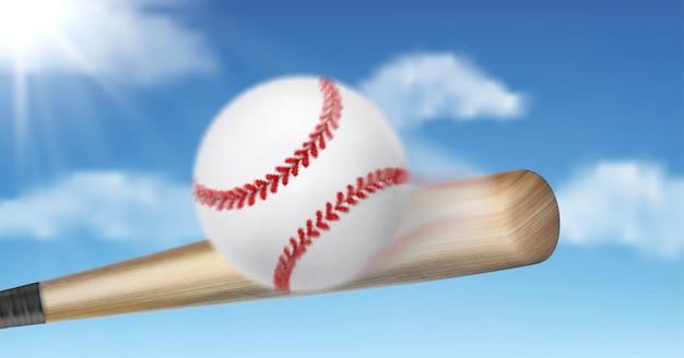 Kij bejsbolowy uderza 3d piłki realistycznego wektor