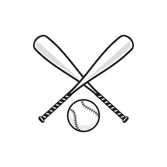 Kij bejsbolowy z baseball wektor