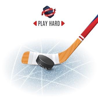 Kij hokejowy i krążek