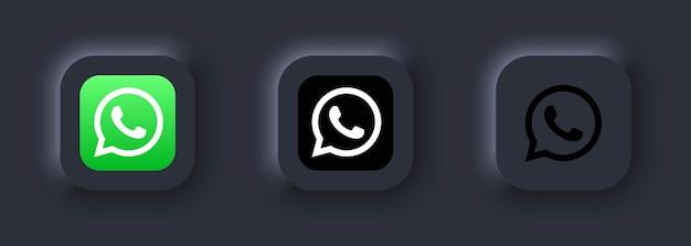 Kijów, ukraina - 12 marca 2021 zestaw ikon whatsapp. ikony mediów społecznościowych. realistyczny zestaw whatsapp. neumorficzny biały interfejs użytkownika ux. styl neumorfizmu.