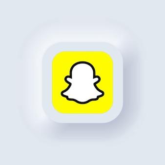 Kijów, ukraina - 19 marca 2021: zestaw ikon snapchat. ikony mediów społecznościowych. realistyczny zestaw. neumorficzny biały interfejs użytkownika ux. styl neumorfizmu.