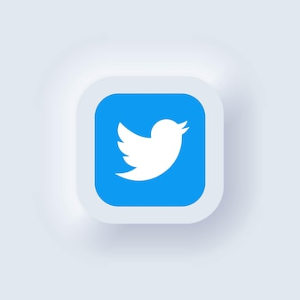 Kijów, ukraina - 19 marca 2021: zestaw ikon twittera. ikony mediów społecznościowych. realistyczny zestaw. neumorficzny biały interfejs użytkownika ux. styl neumorfizmu.