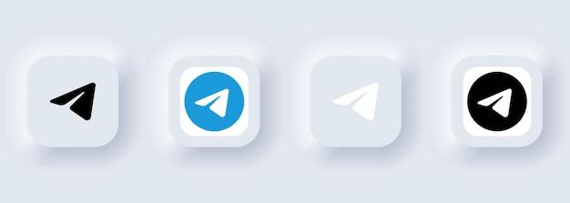 Kijów, ukraina - 22 lutego 2021: zestaw ikon telegramu. ikony mediów społecznościowych. realistyczny zestaw. neumorficzny biały interfejs użytkownika ux. styl neumorfizmu.