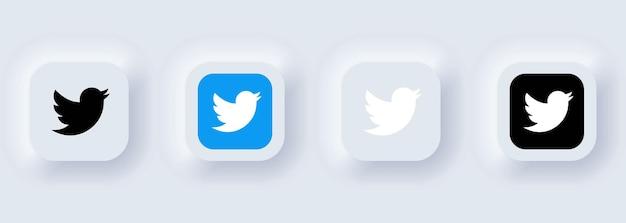 Kijów, ukraina - 22 lutego 2021: zestaw ikon twittera. ikony mediów społecznościowych. realistyczny zestaw. neumorficzny biały interfejs użytkownika ux. styl neumorfizmu.