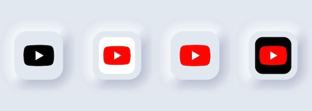 Kijów, ukraina - 22 lutego 2021: zestaw ikon youtube. ikony mediów społecznościowych. realistyczny zestaw. neumorficzny biały interfejs użytkownika ux. styl neumorfizmu.