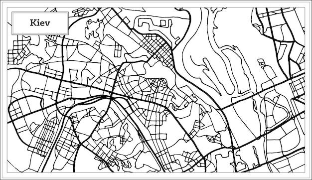Kijów ukraina mapa w kolorze czarno-białym. ilustracja wektorowa. mapa przeglądowa.