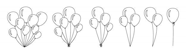 Kilka balonów. zarysuj pęczki i grupy balonów helowych. płaska kolekcja kreskówka liniowy urodziny party projekt. balon okrągły prezent niespodzianka wakacje. ilustracja na białym tle