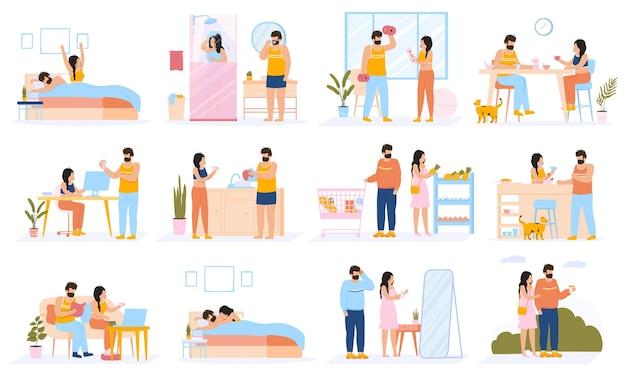 Kilka codziennych zajęć. codzienne zajęcia rekreacyjne i zawodowe młodej pary, szczęśliwy rodzinny styl życia.
