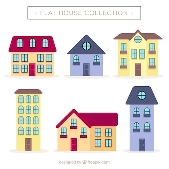 Kilka domów w płaskiej konstrukcji z oknami